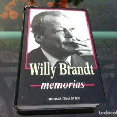 Libros de segunda mano: WILLY BRANDT. MEMORIAS. ED. TEMAS DE HOY, 1990. Lote 171092747