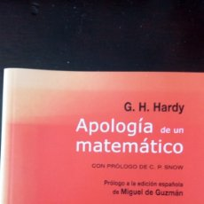 Libros de segunda mano: APOLOGÍA DE UN MATEMÁTICO G.H. HARDY. Lote 173204148