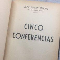 Libros de segunda mano: CINCO CONFERENCIAS JOSÉ MARÍA PEMÁN, EDITORIAL: EDITORIAL HERRERA - BONET, BUENOS AIRES, 1941. Lote 179943718