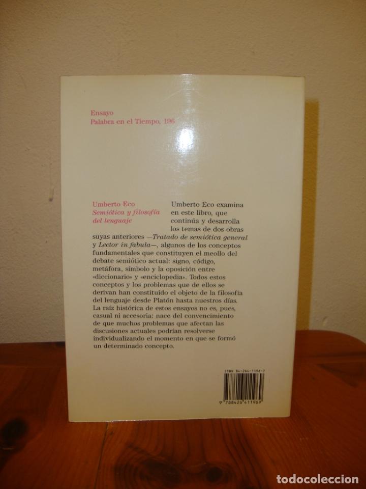 Libros de segunda mano: SEMIÓTICA Y FILOSOFÍA DEL LENGUAJE - UMBERTO ECO - LUMEN, MUY BUEN ESTADO - Foto 3 - 180038977
