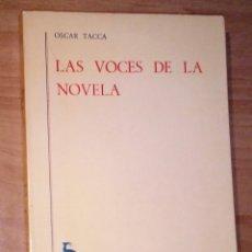 Libros de segunda mano: OSCAR TACCA - LAS VOCES DE LA NOVELA - GREDOS, 1978. Lote 182491897