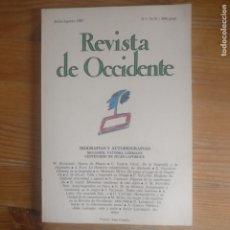 Libros de segunda mano: REVISTA DE OCCIDENTE. BIOGRAFÍAS Y AUTOBIOGRAFÍAS. BENJAMIN,VATTIMO.LUHMANN. Nº 74-75 1987. Lote 187532497