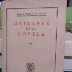 Libros de segunda mano: MENÉNDEZ PELAYO, ORÍGENES DE LA NOVELA. CSCI 1943, INTONSO. Lote 191840845