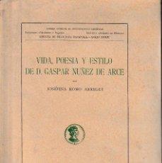 Libros de segunda mano: VIDA, POESÍA Y ESTILO DE D. GASPAR NÚÑEZ DE ARCE (J. ROMO ARREGUI 1946) SIN USAR. Lote 194512736