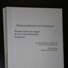 Libros de segunda mano: ENSAYO SOBRE EL ORIGEN DE LOS CONOCIMIENTOS HUMANOS.. Lote 194622482