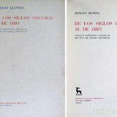 Libros de segunda mano: ALONSO, DÁMASO. DE LOS SIGLOS OSCUROS AL DE ORO. 1958.. Lote 194669708