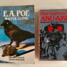 Libros de segunda mano: LOTE DOS LIBROS. BIOGRAFÍA DE EDGAR ALLAN POE Y AKU - AKU. Lote 194939280