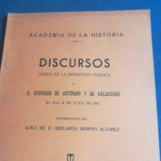 Libros de segunda mano: ACADEMIA DE LA HISTORIA DISCURSOS DE GERVASIO DE ARTIÑANO Y DE GALDACANO MADRID 1935. Lote 199217010