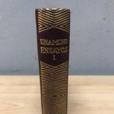 Libros de segunda mano: ENSAYOS DE UNAMUNO TOMO I 4A EDICIÓN AÑO 1958 EDITORIAL AGUILAR. Lote 204677355