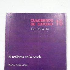 Libros de segunda mano: CUADERNOS DE ESTUDIO Nº 16. EL REALISMO EN LA NOVELA. HIPOLITO ESTEBAN SOLER. CINCEL. TDK287. Lote 205104981