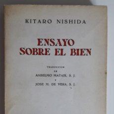 Libros de segunda mano: ENSAYO SOBRE EL BIEN - KITARO NISHIDA. Lote 209881058