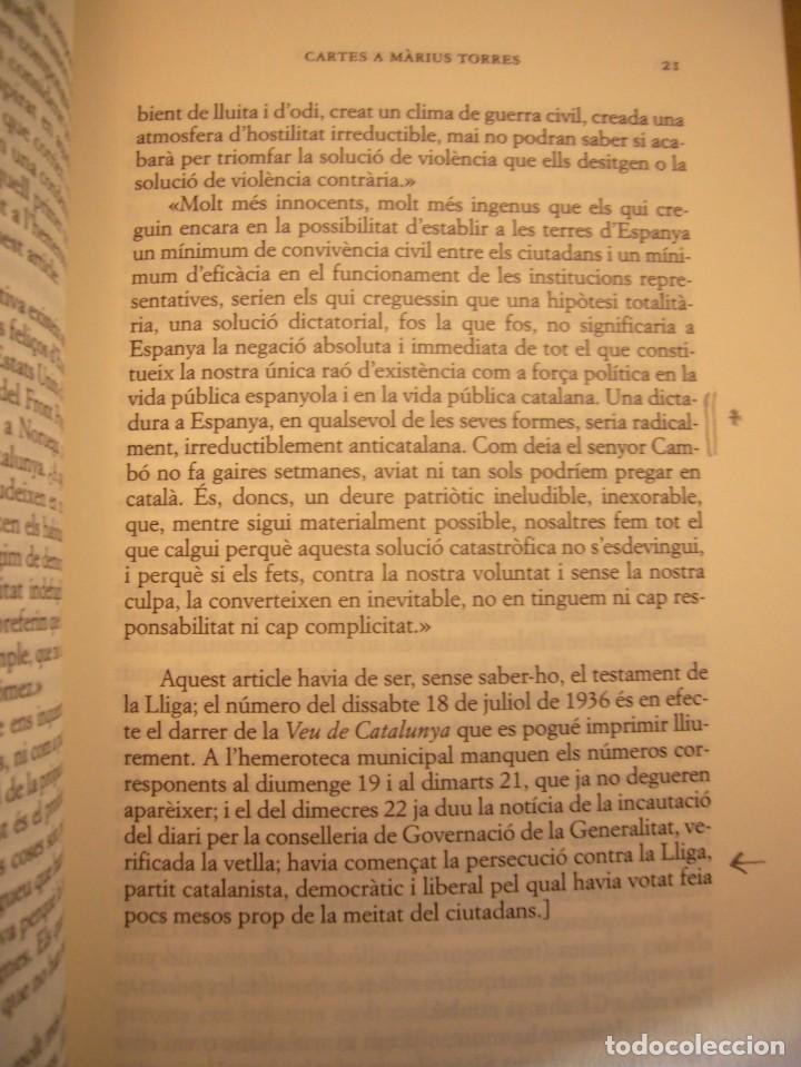 Libros de segunda mano: JOAN SALES: CARTES A MÀRIUS TORRES (CLUB EDITOR, 2007) MOLT BON ESTAT - Foto 4 - 234929200