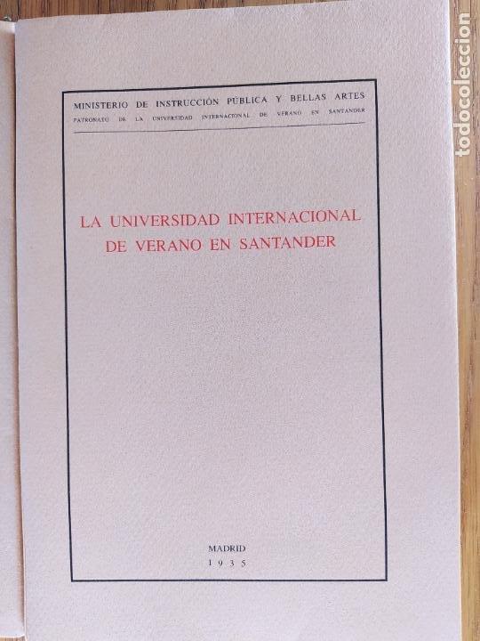 Libros de segunda mano: 2 Ediciones de la Universidad de verano de Santander. Una limitada a 50 ejemplares. Facsimiles. - Foto 2 - 235879320