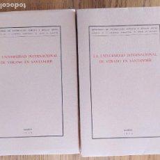 Libros de segunda mano: 2 EDICIONES DE LA UNIVERSIDAD DE VERANO DE SANTANDER. UNA LIMITADA A 50 EJEMPLARES. FACSIMILES.. Lote 235879320