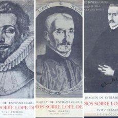 Libros de segunda mano: ESTUDIOS SOBRE LOPE DE VEGA. 3 VOLS. COMPLETA (J. DE ENTRAMBASAGUAS) 1958 -1967. SIN USAR. Lote 168314608
