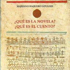 Libros de segunda mano: ¿QUÉ ES LA NOVELA?¿QUÉ ES EL CUENTO?, MARIANO BAQUERO GOYANES. Lote 238174020