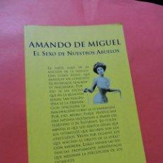 Livres d'occasion: EL SEXO DE NUESTROS ABUELOS. DE MIGUEL, AMANDO. ESPASA BOLSILLO. Lote 239537500