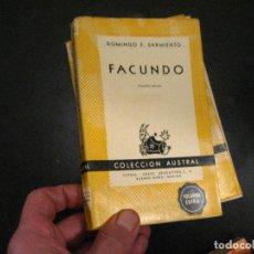Livres d'occasion: FACUNDO. CIVILIZACIÓN Y BARBARIE - DOMINGO F. SARMIENTO (COLECCIÓN AUSTRAL 1058). Lote 246021070