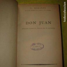 Libros de segunda mano: G. MARAÑÓN. DON JUAN. EL ORIGEN DE SU LEYENDA. ESPASA - CALPE. AÑO 1940.. Lote 247165725