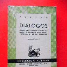 Livres d'occasion: DIÁLOGOS. PLATÓN COLECCIÓN AUSTRAL Nº44 12ªED. 1962 ESPASA CALPE. Lote 248679360