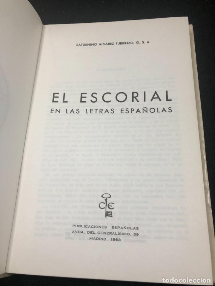 Libros de segunda mano: EL ESCORIAL EN LAS LETRAS ESPAÑOLAS. SATURNINO ALVAREZ TURIENZO. ARTE. MADRID 1963 - Foto 4 - 261364925