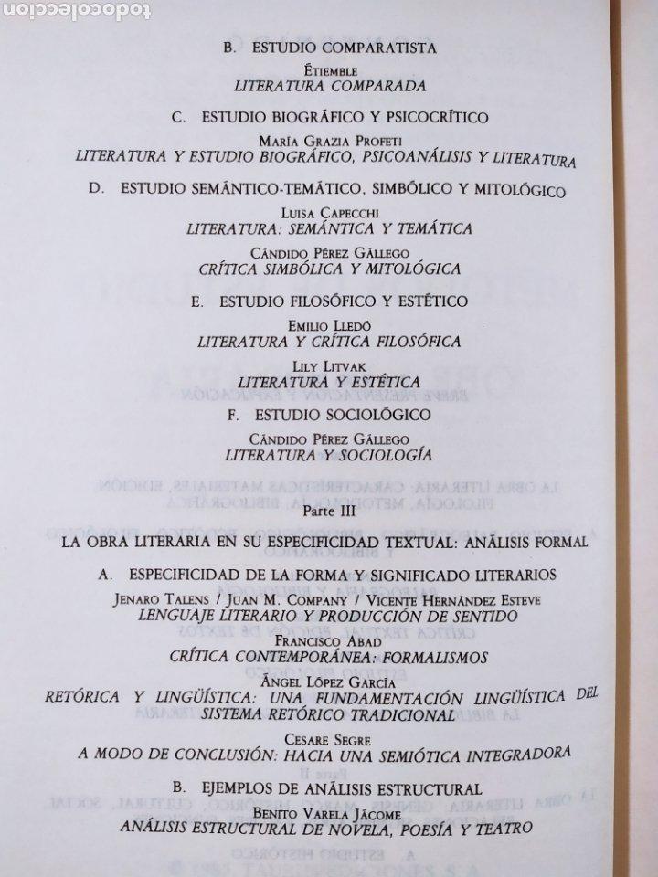 Libros de segunda mano: METODOS DE ESTUDIO DE LA OBRA LITERARIA / VV.AA. / TAURUS. 1985 - Foto 4 - 261587700