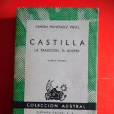 Livres d'occasion: CASTILLA, LA TRADICIÓN, EL IDIOMA. MENÉNDEZ PIDAL. COLECCIÓN AUSTRAL Nº501 4ªED.1966 ESPASA CALPE. Lote 262064310