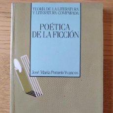 Libros de segunda mano: POÉTICA DE LA FICCIÓN, TEORIA DE LA LITERATURA. JOSÉ MARÍA POZUELO, ED. SÍNTESIS. 1993 RARO. Lote 268415749
