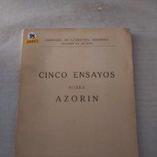 Libros de segunda mano: 49443 - CINCO ENSAYOS SOBRE AZORIN - POR VARIOS AUTORES - UNIVERSISDAD DE GRANADA - AÑO 1955. Lote 269189918