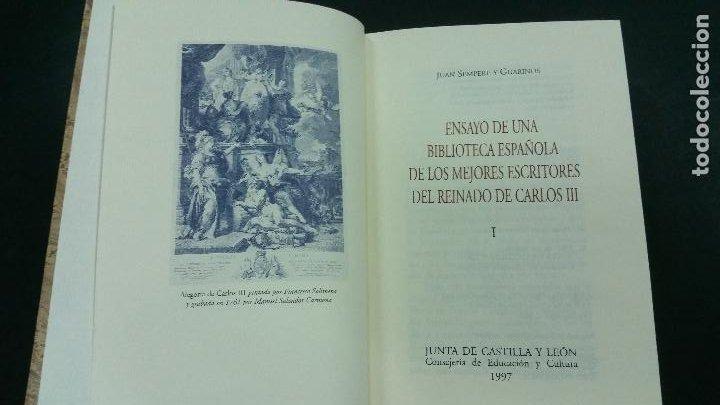 Libros de segunda mano: 1997 -SEMPERE Ensayo de una biblioteca española de los mejores escritores del reinado de Carlos III - Foto 2 - 269311938