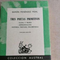 Libros de segunda mano: TRES POETAS PRIMITIVOS. ELENA Y MARÍA. - MENÉNDEZ PIDAL, RAMÓN: ESPASA CALPE. Lote 270236428