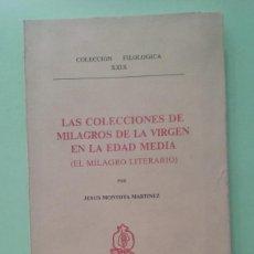 Libros de segunda mano: LAS COLECCIONES DE MILAGROS DE LA VIRGEN EN LA EDAD MEDIA (EL MILAGRO LITERARIO). JESÚS MONTOYA. Lote 270874423