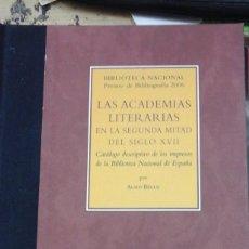 Libros de segunda mano: LAS ACADEMIAS LITERARIAS EN LA SEGUNDA MITAD DEL SIGLO XVII. CATÁLOGO DESCRIPTIVODE LOS IMPRESOS DE. Lote 279442813