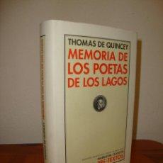 Libros de segunda mano: MEMORIA DE LOS POETAS DE LOS LAGOS - THOMAS DE QUINCEY - PRE-TEXTOS, EXCELENTE ESTADO. Lote 289506823