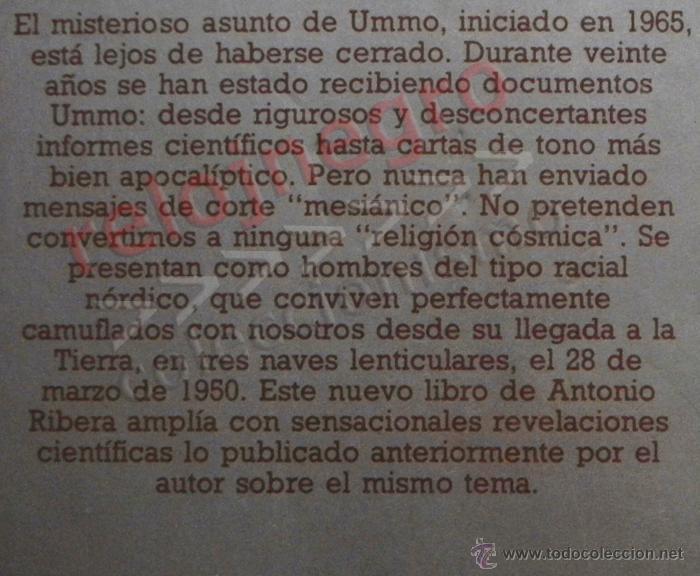 Libros de segunda mano: UMMO LA INCREÍBLE VERDAD - ANTONIO RIBERA UMMITAS EXTRATERRESTRES UFOLOGÍA OVNIS MISTERIO OVNI LIBRO - Foto 6 - 42030019