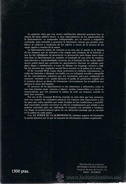 Libros de segunda mano: EL PODER DE LA QUIROMANCIA DR. LEONARD WOLF - Foto 2 - 53414705
