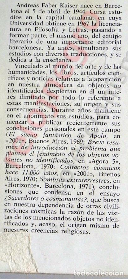 Libros de segunda mano: ¿ SACERDOTES O COSMONAUTAS ? LIBRO ANDREAS FABER KAISER MISTERIO UFOLOGÍA NAVES CÓSMICAS OVNIS OVNI - Foto 2 - 74337519