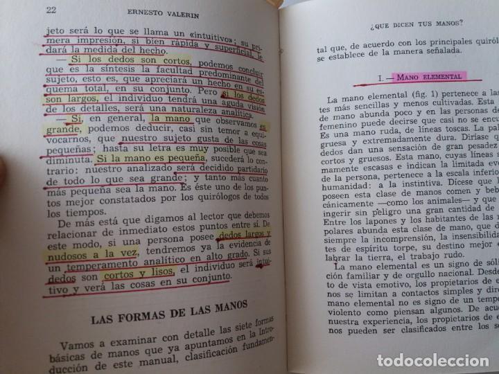 Libros de segunda mano: QUE DICEN TUS MANOS / E. VALERIN (ED. SINTES) - Foto 8 - 155489598
