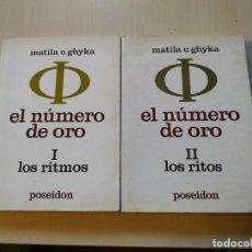 Libri di seconda mano: EL NÚMERO DE ORO COMPLETO. I. LOS RITMOS. II. LOS RITOS - MATILA C. GHYKA. POSEIDÓN. Lote 198772693