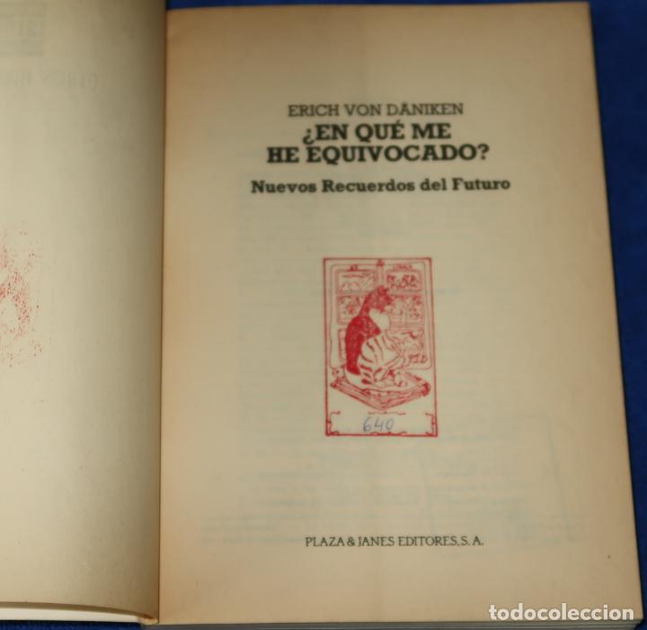 Libros de segunda mano: ¿En qué me he equivocado? - Otros Horizontes - Erich Von Dániken - Plaza & Janés Editores (1986) - Foto 3 - 288358208