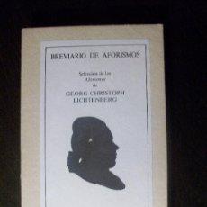 Libros de segunda mano: BREVIARIO DE AFORISMOS DE GEORG CHRISTOPH LICHTENBERG. RARA EDICIÓN.. Lote 27069509