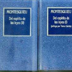 Libros de segunda mano: MONTESQUIEU : DEL ESPÍRITU DE LAS LEYES (DOS TOMOS) PRÓLOGO DE TIERNO GALVÁN. Lote 109277756