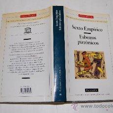 Libros de segunda mano: SEXTO EMPÍRICO. ESBOZOS PIRRÓNICOS. RM32092. Lote 28807143