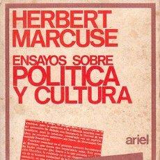 Libros de segunda mano: HERBERT MARCUSE, ENSAYOS SOBRE POLÍTICA Y CULTURA, ARIEL, BARCELONA 1970, 212PÁG, 18X11CM. Lote 202531125