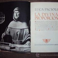 Libros de segunda mano: LA DIVINA PROPORCIÓN. LUCA PACIOLI.. Lote 30538283