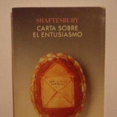 Libri di seconda mano: CARTA SOBRE EL ENTUSIASMO, DE SHAFTESBURY. CRÍTICA, 1997. Lote 34650001