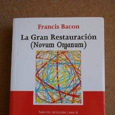 Libros de segunda mano: LA GRAN RESTAURACIÓN. (NOVUM ORGANUM). FRANCIS BACON. TECNOS.. Lote 176552365