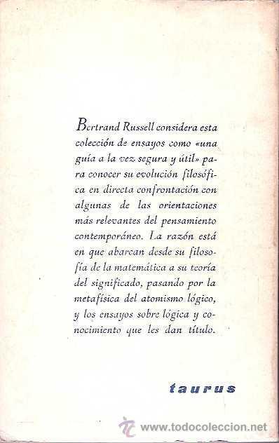 Libros de segunda mano: Russell, Bertrand - Lógica y conocimiento - Taurus 1966 - Foto 2 - 38623963