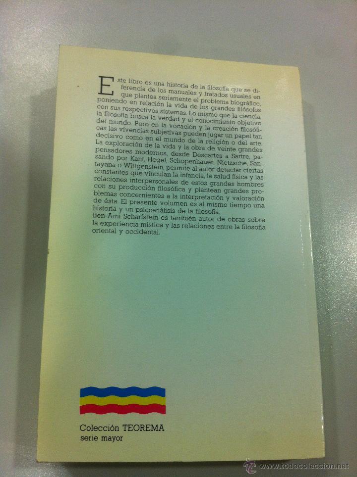 Libros de segunda mano: Los filósofos y sus vidas - Ben-Ami Scharfstein - Cátreda - Madrid - 1984 - Dificil de encontrar. - Foto 3 - 43144277