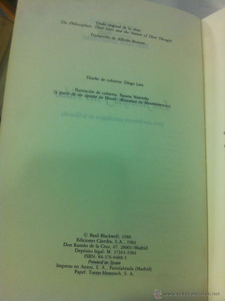 Libros de segunda mano: Los filósofos y sus vidas - Ben-Ami Scharfstein - Cátreda - Madrid - 1984 - Dificil de encontrar. - Foto 4 - 43144277